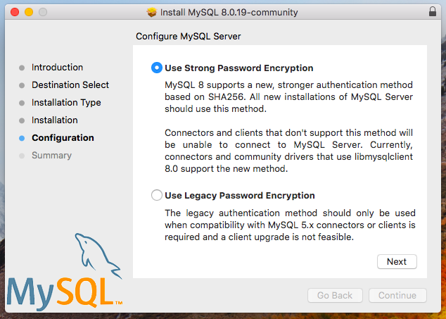 MySQL installer encryption type