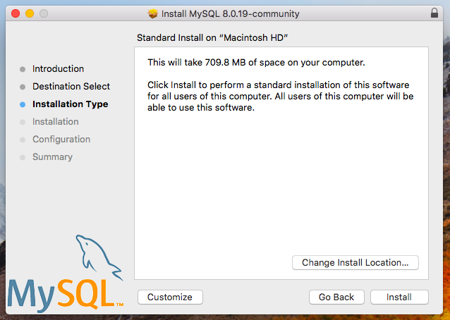 MySQL installer installation type
