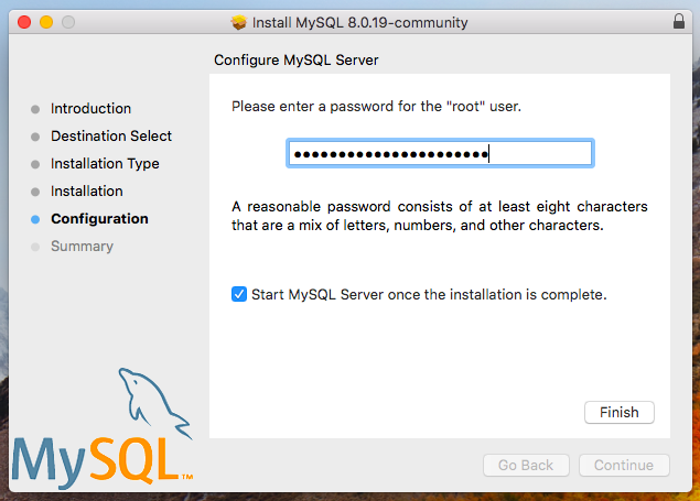 MySQL installer set password