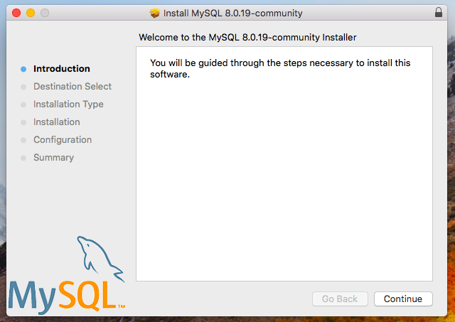 MySQL installer welcome