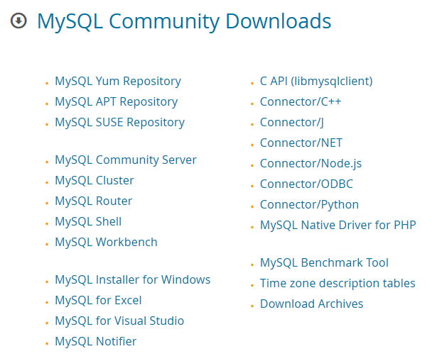 MySQL list of installers